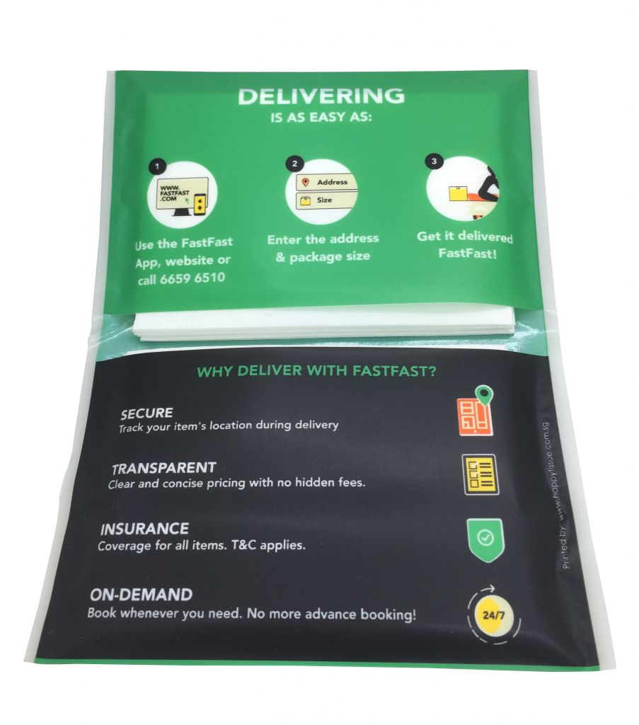 Fast Fast Delivery Tissue advertising Singapore
